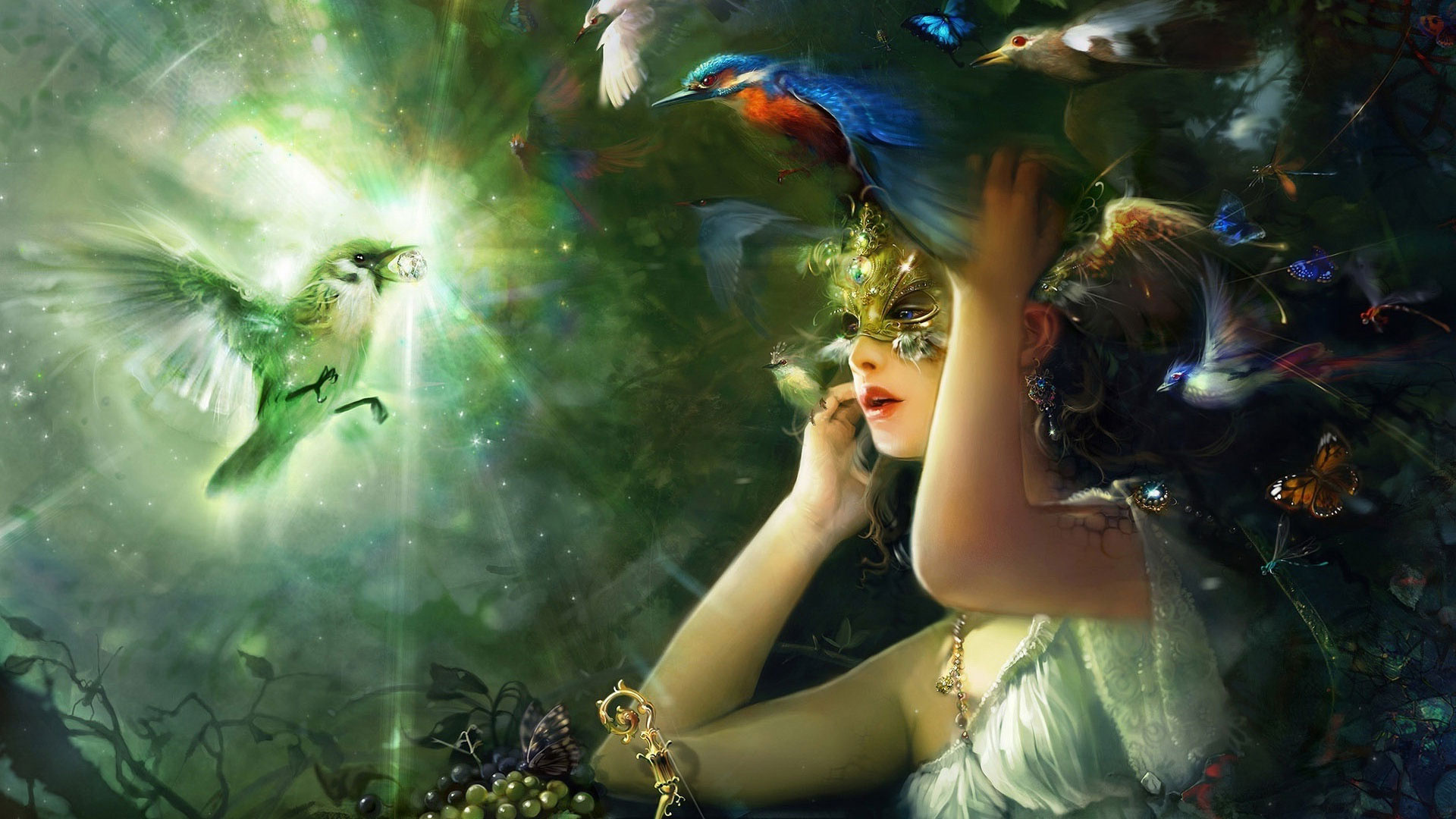 Fantasy - Women  Grapes Butterfly Kingfisher Bird Mask Girl Woman Wallpaper