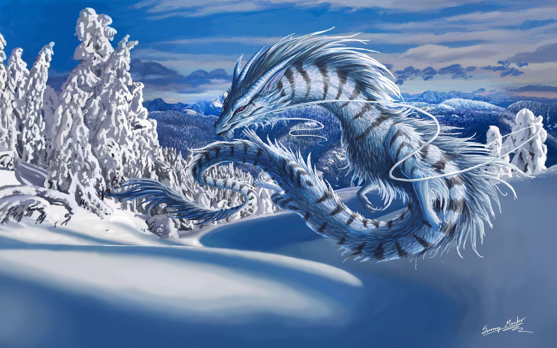 Fantasy - Dragon  Winter Fantasy Tree Snow Wallpaper