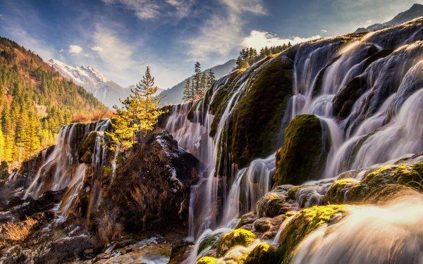 Earth Waterfall Waterfalls Pearl Shoal Falls China Sichuan Mountain Jiuzhaigou Park Landscape HD Wallpaper | Background Image