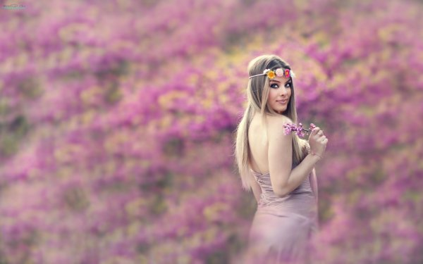 Women Model Models Woman Blonde Blue Eyes Flower Rear HD Wallpaper | Background Image