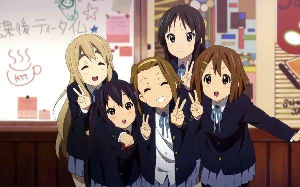 Anime K-ON! Mio Akiyama Yui Hirasawa Ritsu Tainaka Tsumugi Kotobuki Azusa Nakano Brown Hair Brown Eyes Short Hair School Uniform Skirt Fondo de pantalla HD | Fondo de Escritorio