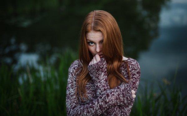 Women Mood Woman Model Redhead Green Eyes Freckles HD Wallpaper | Background Image