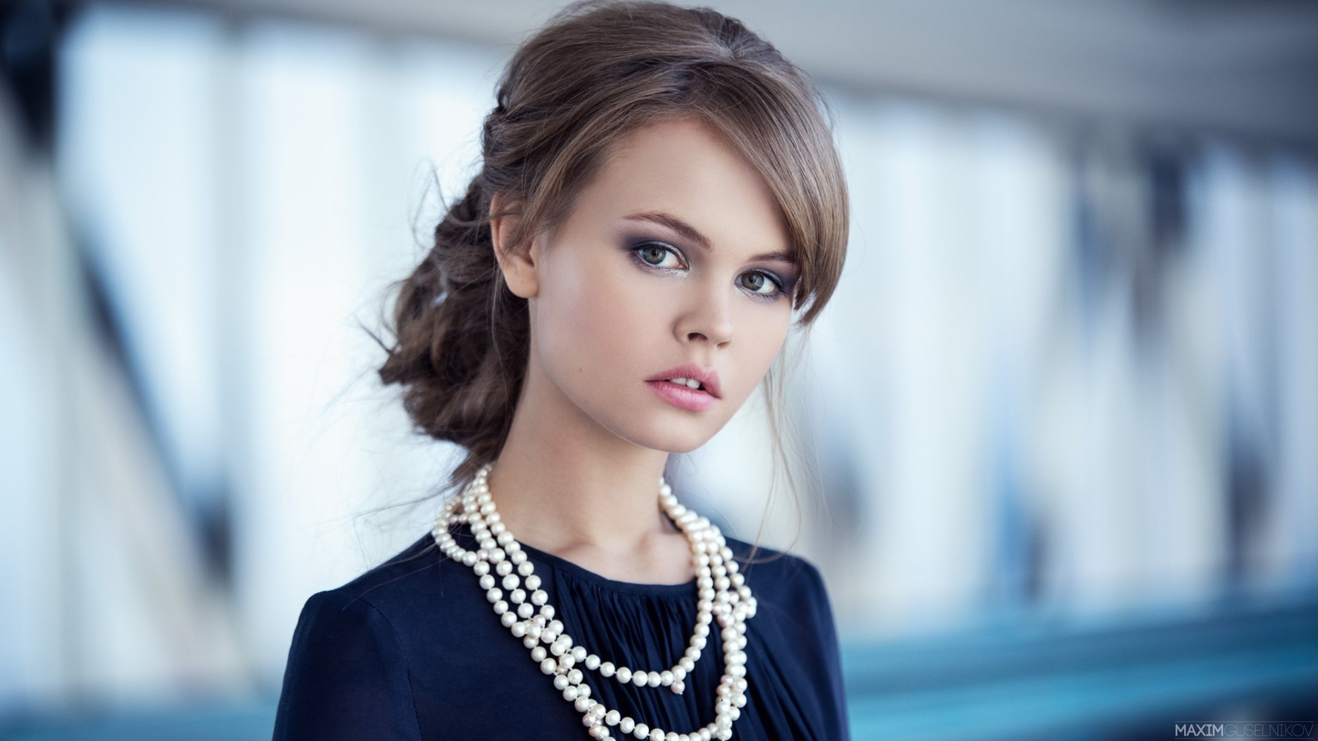 Women - Anastasiya Scheglova  Brunette Bokeh Necklace Green Eyes Model Woman Wallpaper