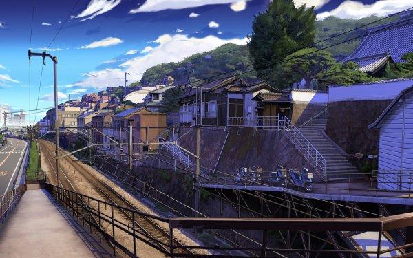 Anime Original Cloud Sky Road Landscape Tree City HD Wallpaper | Background Image