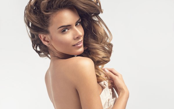 Women Model Models Woman Rear Brunette Brown Eyes Earrings HD Wallpaper | Background Image