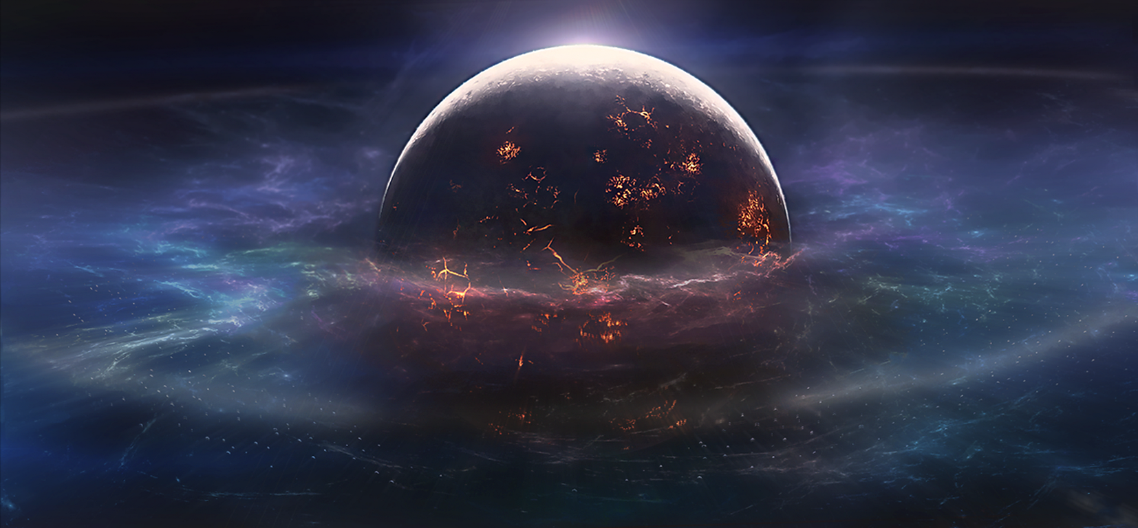 Sci Fi - Planet  Landscape Space Collision Wallpaper