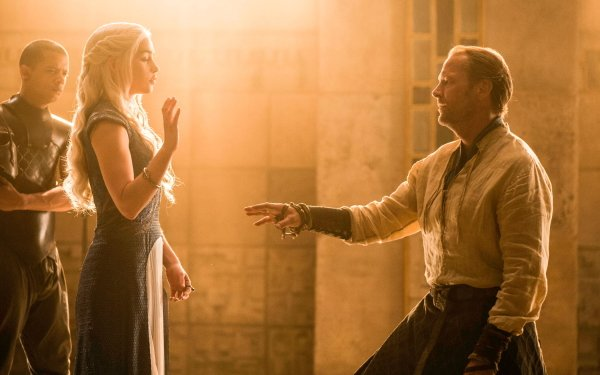 TV Show Game Of Thrones Daenerys Targaryen Emilia Clarke Jorah Mormont Iain Glen Grey Worm Jacob Anderson HD Wallpaper | Background Image