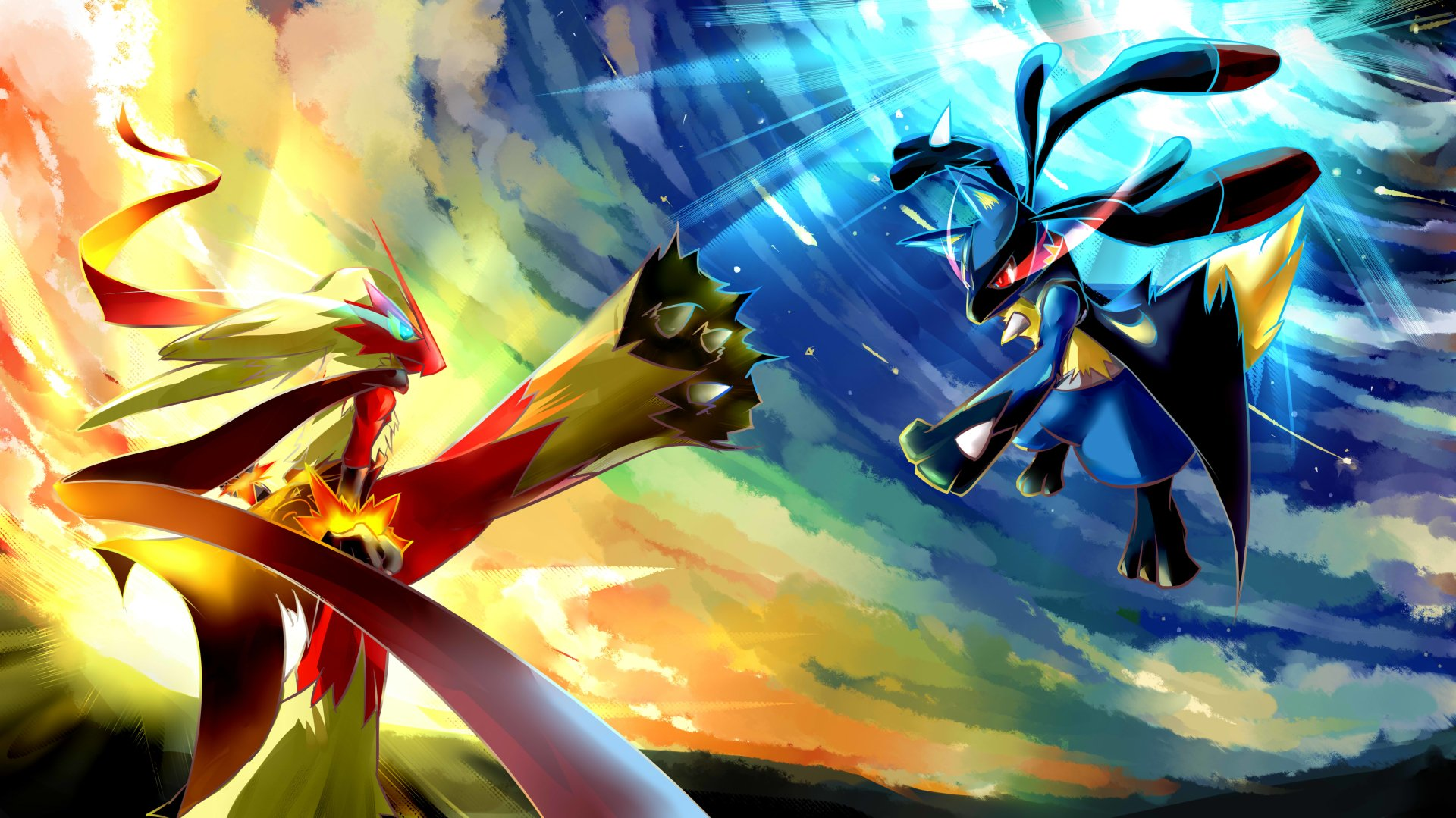 Anime - Pokemon  Blaziken (Pokémon) Lucario (Pokémon) Pokémon Pokemon Battle Wallpaper
