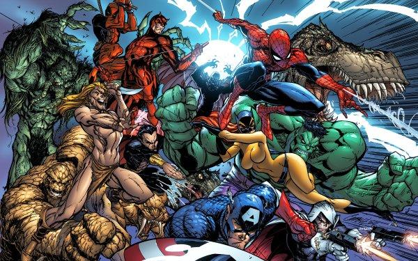 Bande-dessinées Marvel Comics Man-Thing Deadpool Daredevil Magneto Spider-Man Ka-Zar Hulk The Cat Hellcat Thing Sub-Mariner Namor the Sub-Mariner Captain America Taskmaster Zabu Ben Grimm Tigra Fond d'écran HD | Arrière-Plan