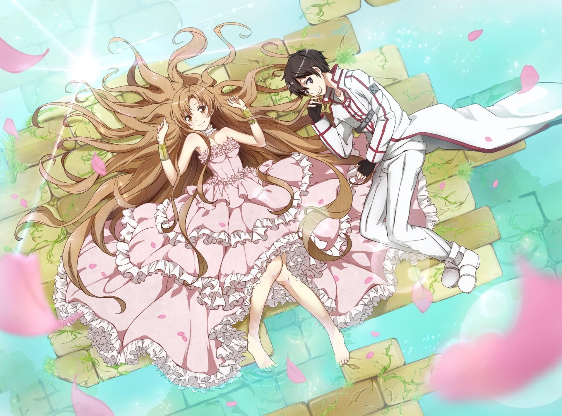 Anime Sword Art Online Asuna Yuuki Kirito Papel de Parede Sword Art Online Wallpaper 1920x1080 Kirito And Asuna