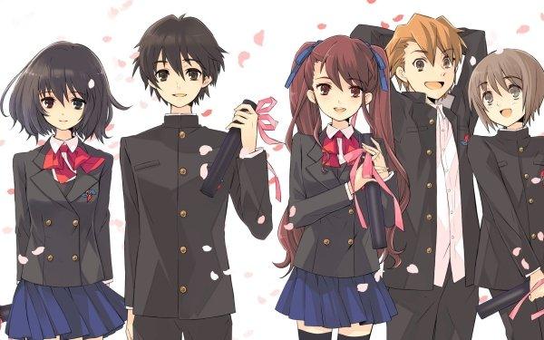 Anime Another Mei Misaki Kouichi Sakakibara Izumi Akazawa Naoya Teshigawara Yuuya Mochizuki Girl Boy Smile Skirt Thigh Highs bow HD Wallpaper | Background Image