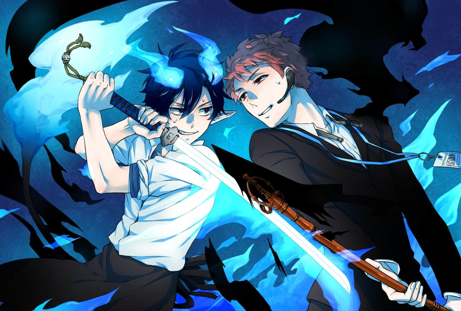 Rin okumura wallpaper and background image 1479x1000 - Blue anime wallpaper ...