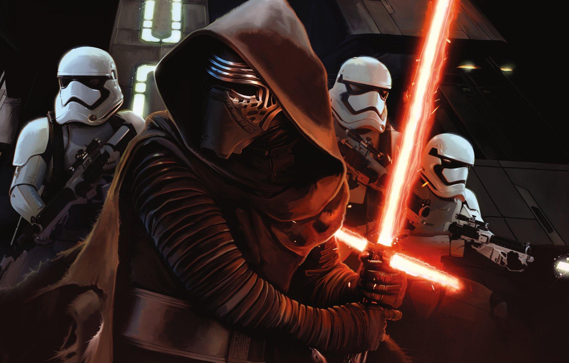 Movie - Star Wars Episode VII: The Force Awakens  Kylo Ren Star Wars Stormtrooper Lightsaber Wallpaper