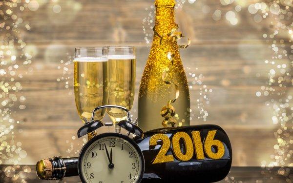 Vacances Nouvel An 2016 Horloge Nouvel An Champagne Bottle Verre Fond d'écran HD | Arrière-Plan