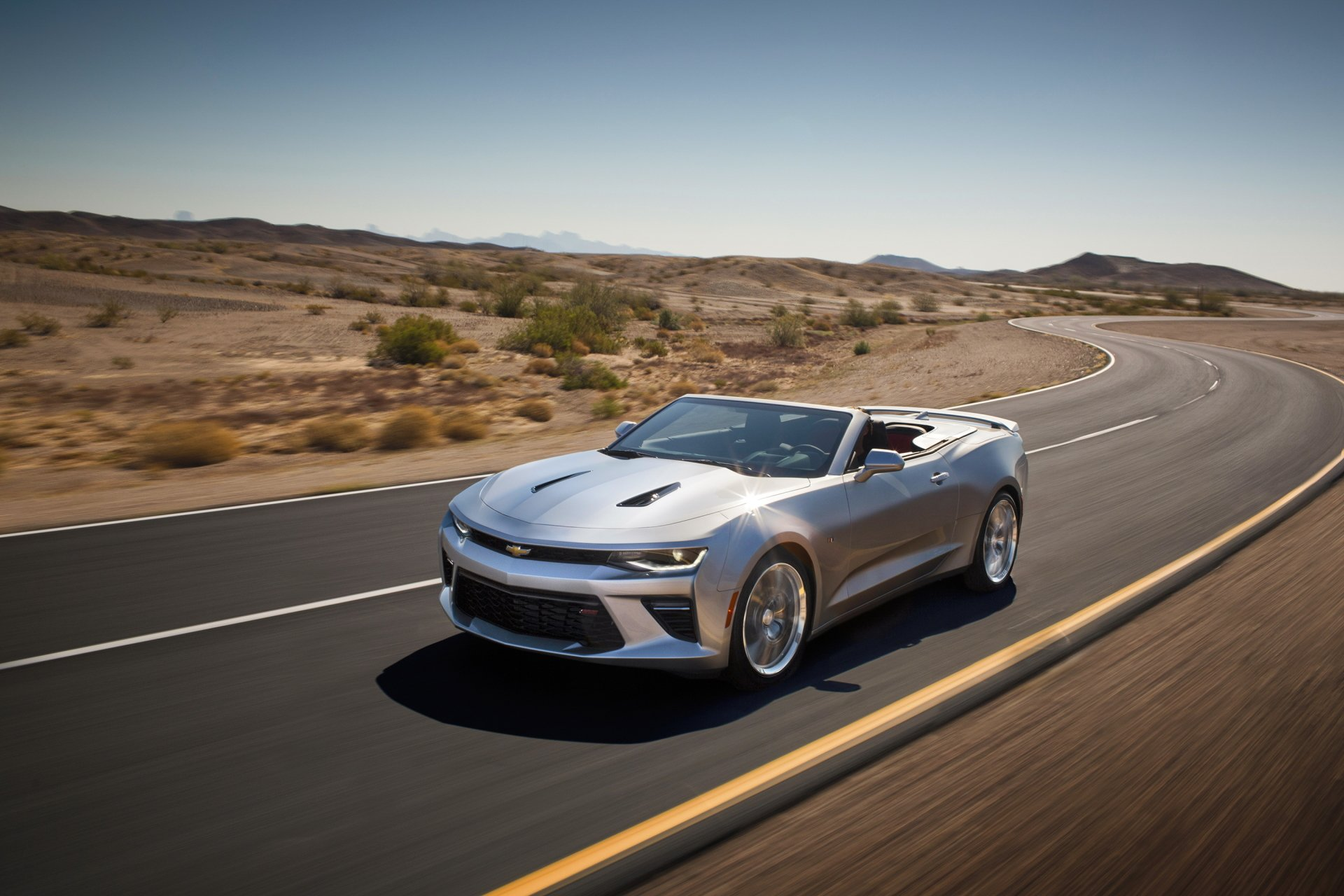 Vehicles - Chevrolet Camaro SS  Desert Vehicle Car Chevrolet Chevrolet Camaro Landscape Road Silver Car Sport Car Chevrolet Camaro Convertible Wallpaper