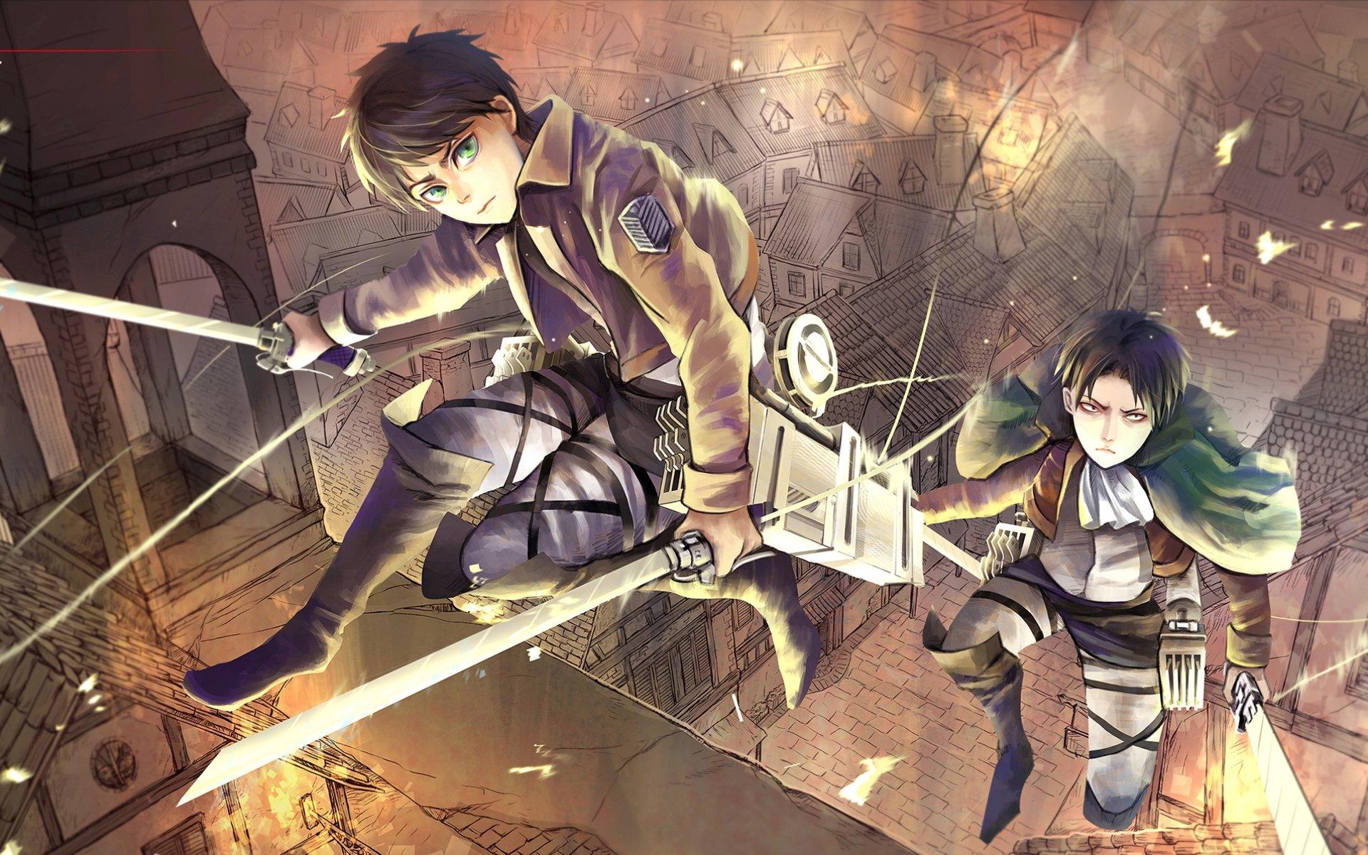 Anime - Attack On Titan  Levi Ackerman Eren Yeager Wallpaper