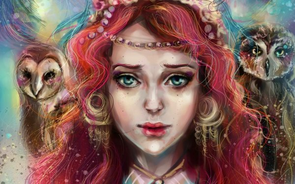 Fantasy Women Face Owl Red Hair Blue Eyes Painting HD Wallpaper | Background Image