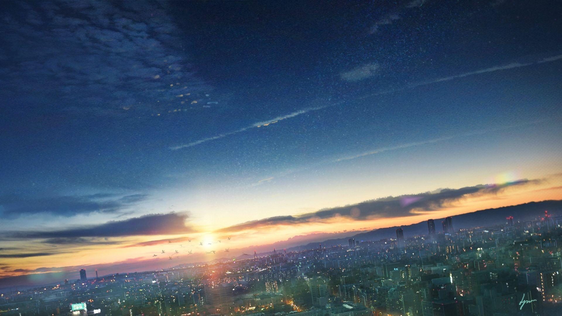 Fantasy - City  Cityscape Sunset Sky Cloud Light Wallpaper