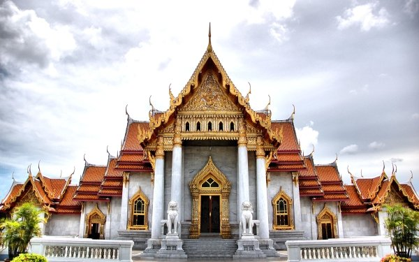 Religious Wat Benchamabophit Temples Marble Temple Bangkok Thailand Buddhist HD Wallpaper   Background Image