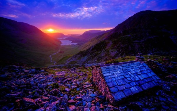 Photography Sunset Purple Mountain Lake Cottage Valley Cloud HD Wallpaper | Background Image