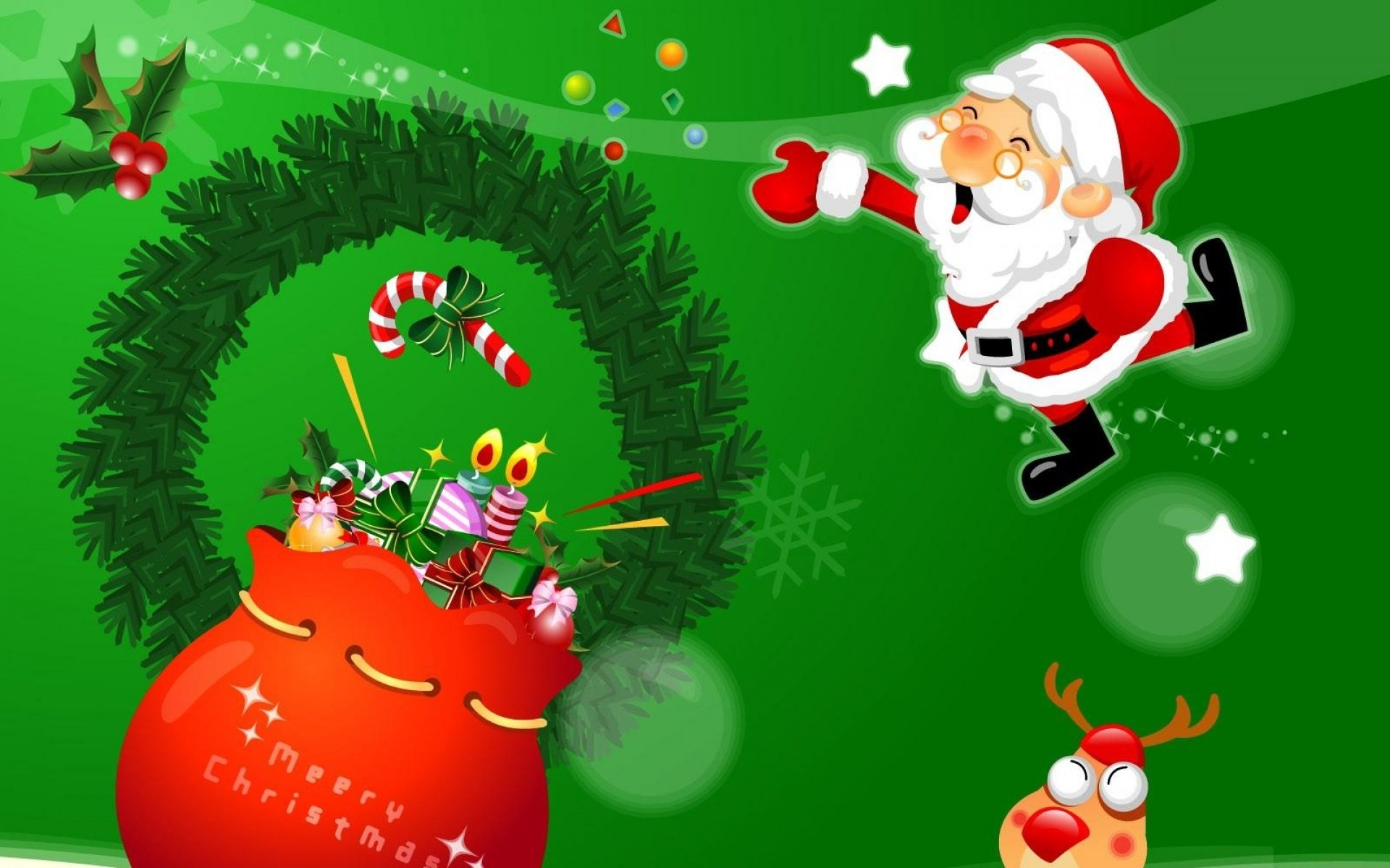 Holiday - Christmas  Santa Reindeer Gift Wallpaper