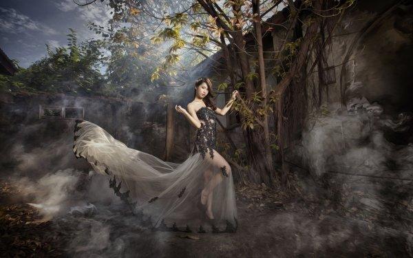 Frauen Asiatinnen Woman Modell Brunette Outdoor Dress HD Wallpaper | Hintergrund