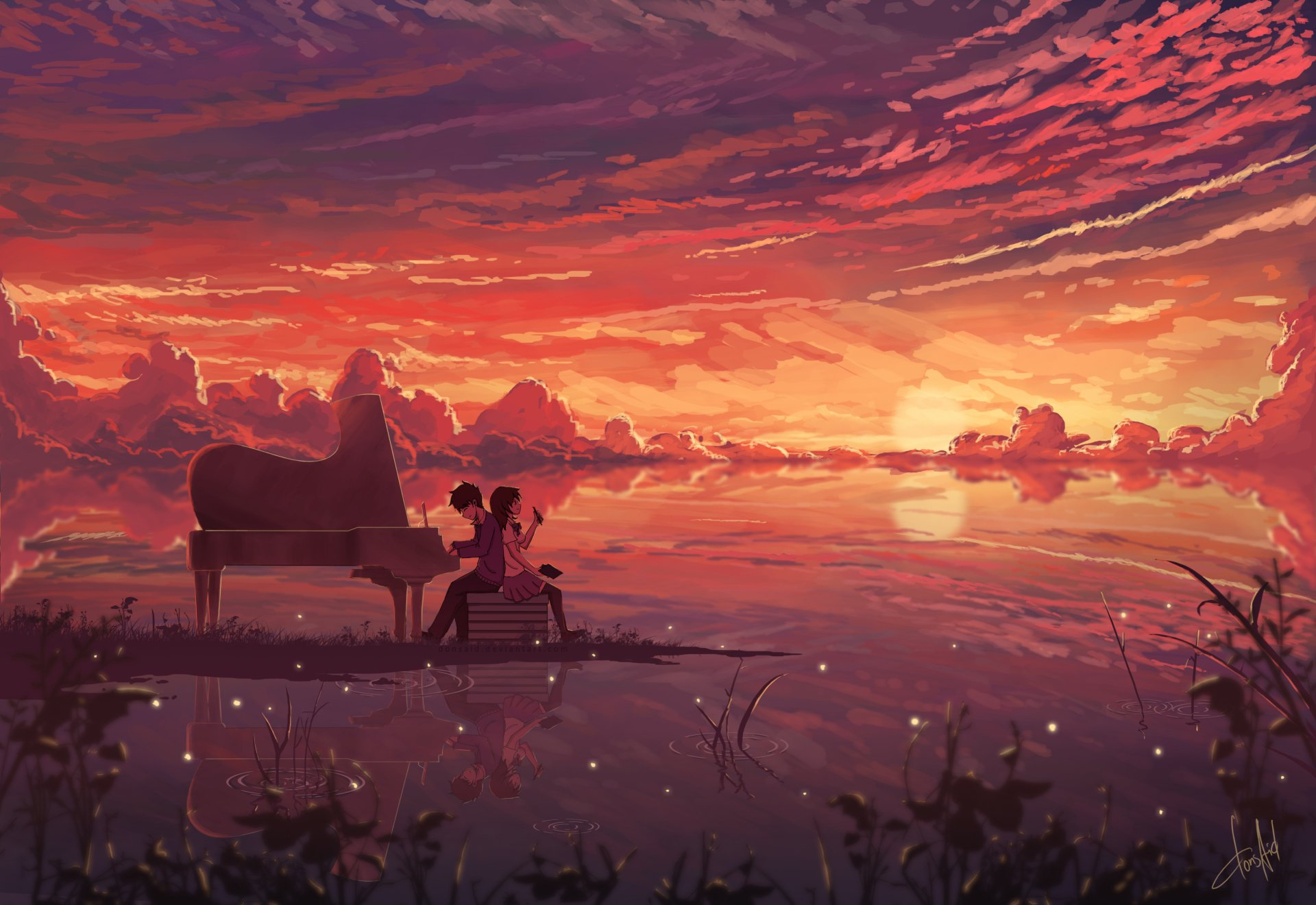 Anime - Original  Piano Girl Boy Sunset Sky Cloud Headphones Anime Reflection Orange Horizon Original (Anime) Wallpaper
