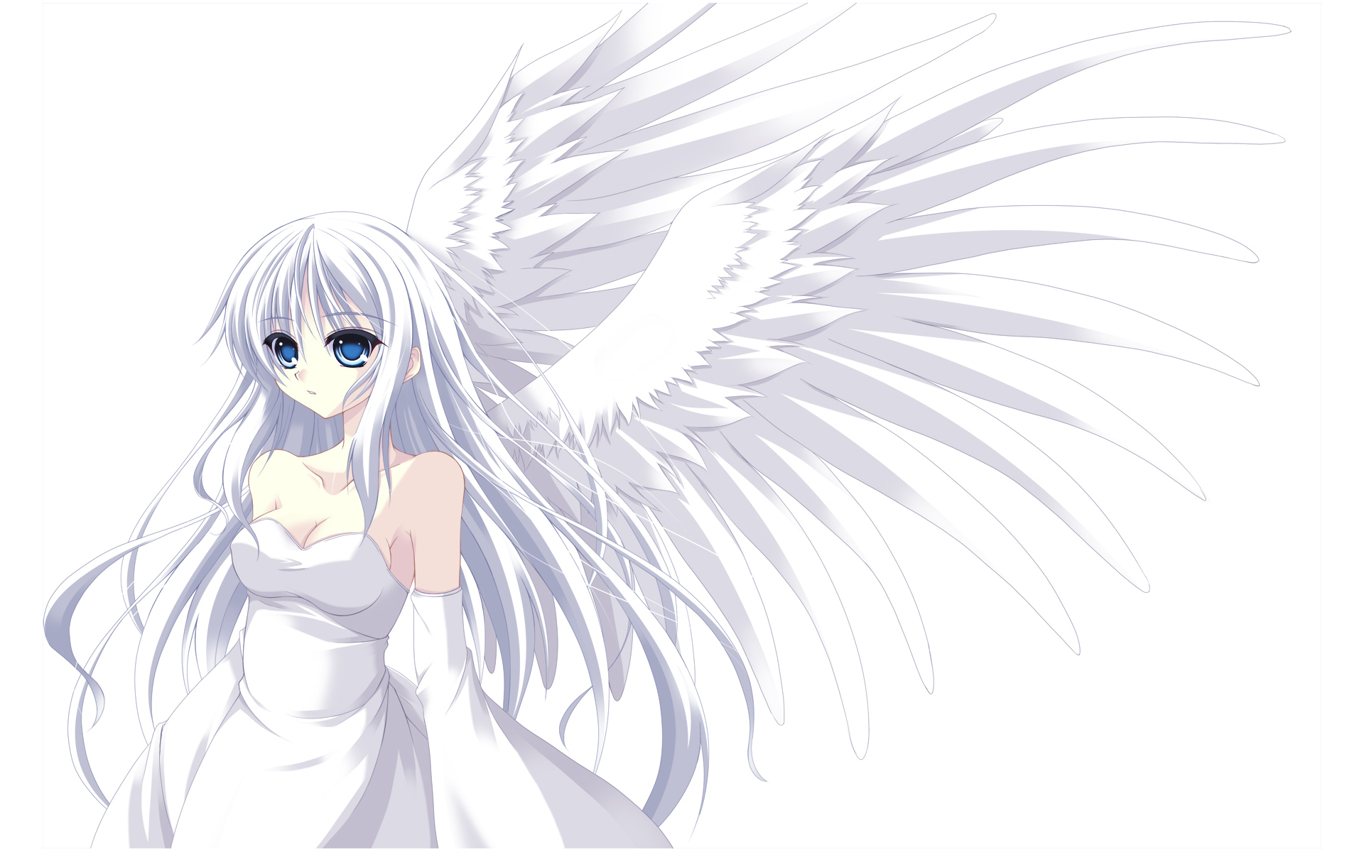 Silver haired angel full hd wallpaper and background image - Anime girl with blue eyes ...