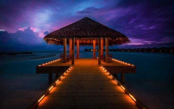 Photography Holiday Man Made Pier Night Maldives Tropical Hut HD Wallpaper   Background Image