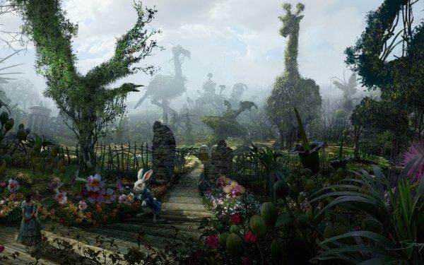 Movie Alice in Wonderland (2010) Garden Fantasy Nivens McTwisp White Rabbit HD Wallpaper | Background Image