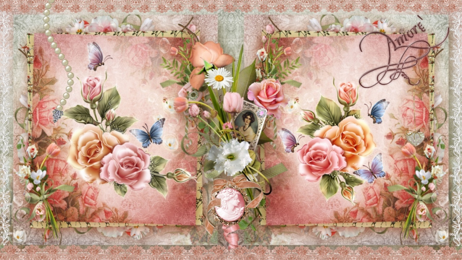 Vintage roses desktop wallpaper