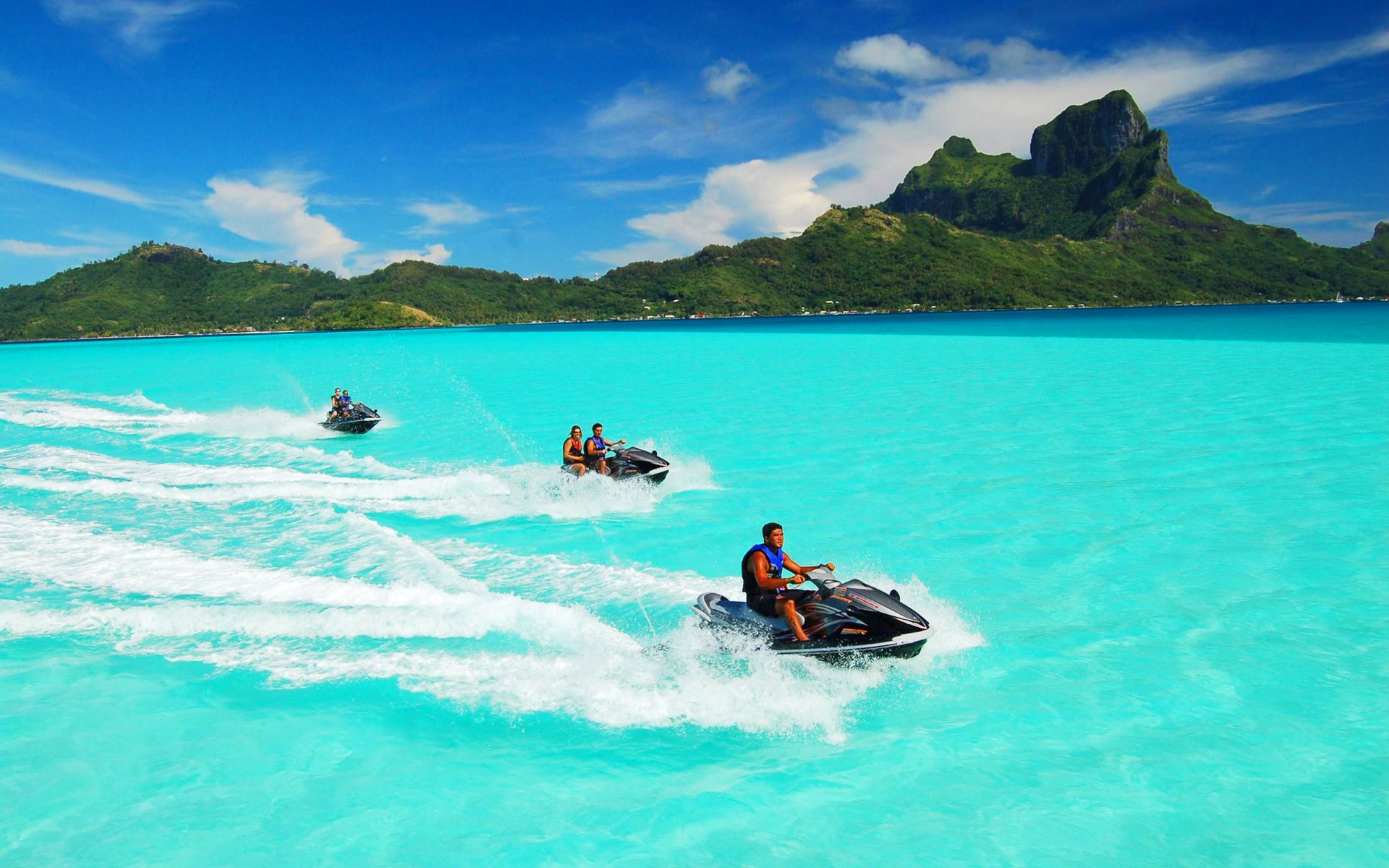 Jet Skiing In Bora Full HD Wallpaper And Background Image