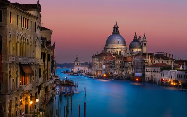 Man Made Venice Cities Italy Grand Canal Night Evening HD Wallpaper | Background Image