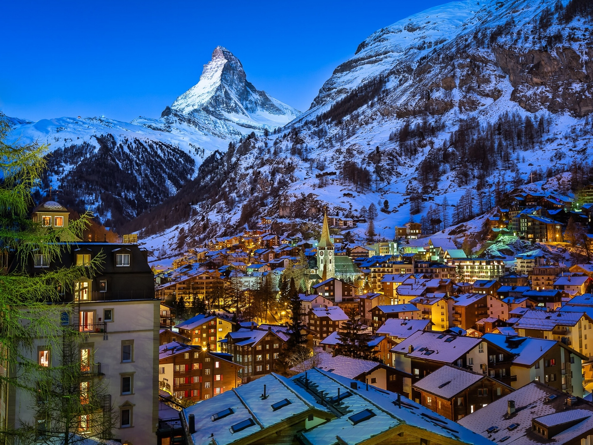 lighted matterhorn village in swiss alps on winter night full hd