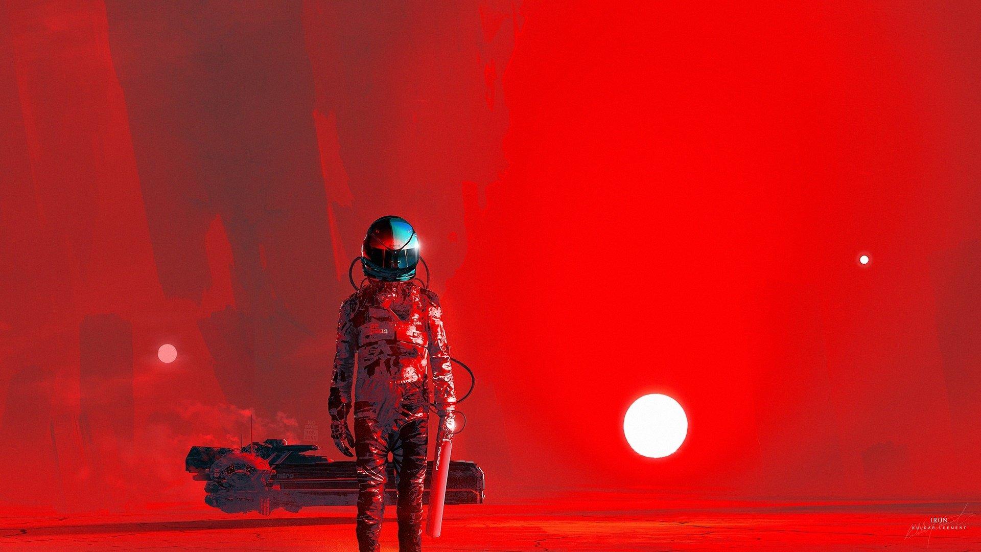 Sci Fi - Astronaut  Red Wallpaper