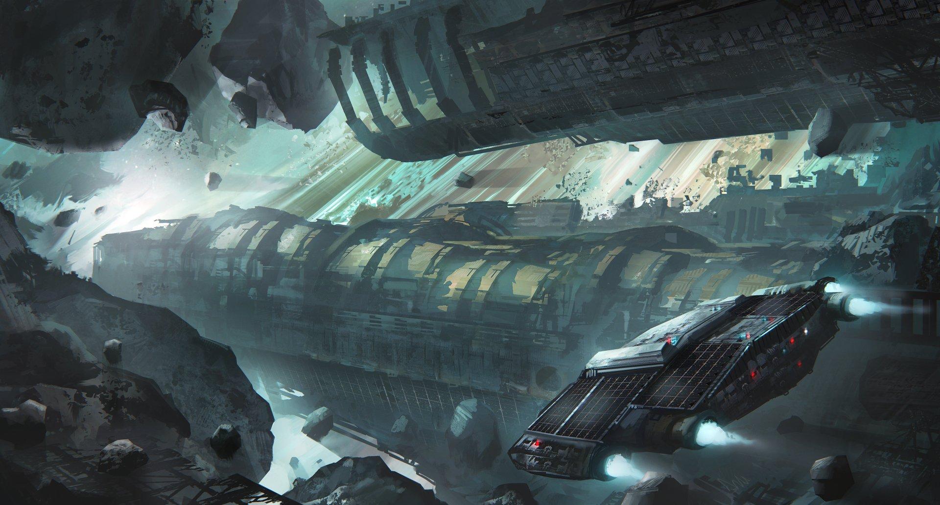 Sci Fi - Spaceship  Asteroid Wallpaper