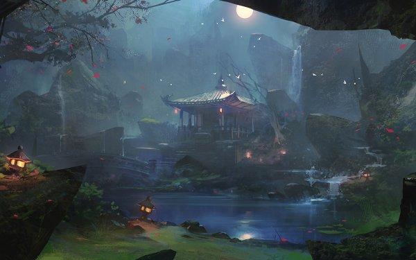 Fantasy Landscape Moon Sky Cloud Water River Lamp HD Wallpaper   Background Image