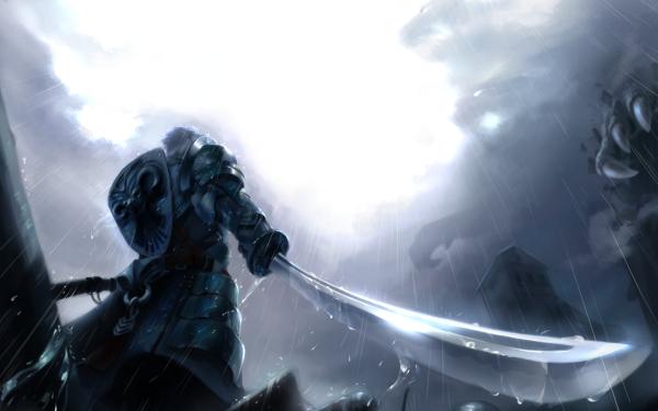 Anime Original Warrior Cloud Rain Sword Weapon Armor Shield Knight HD Wallpaper | Background Image