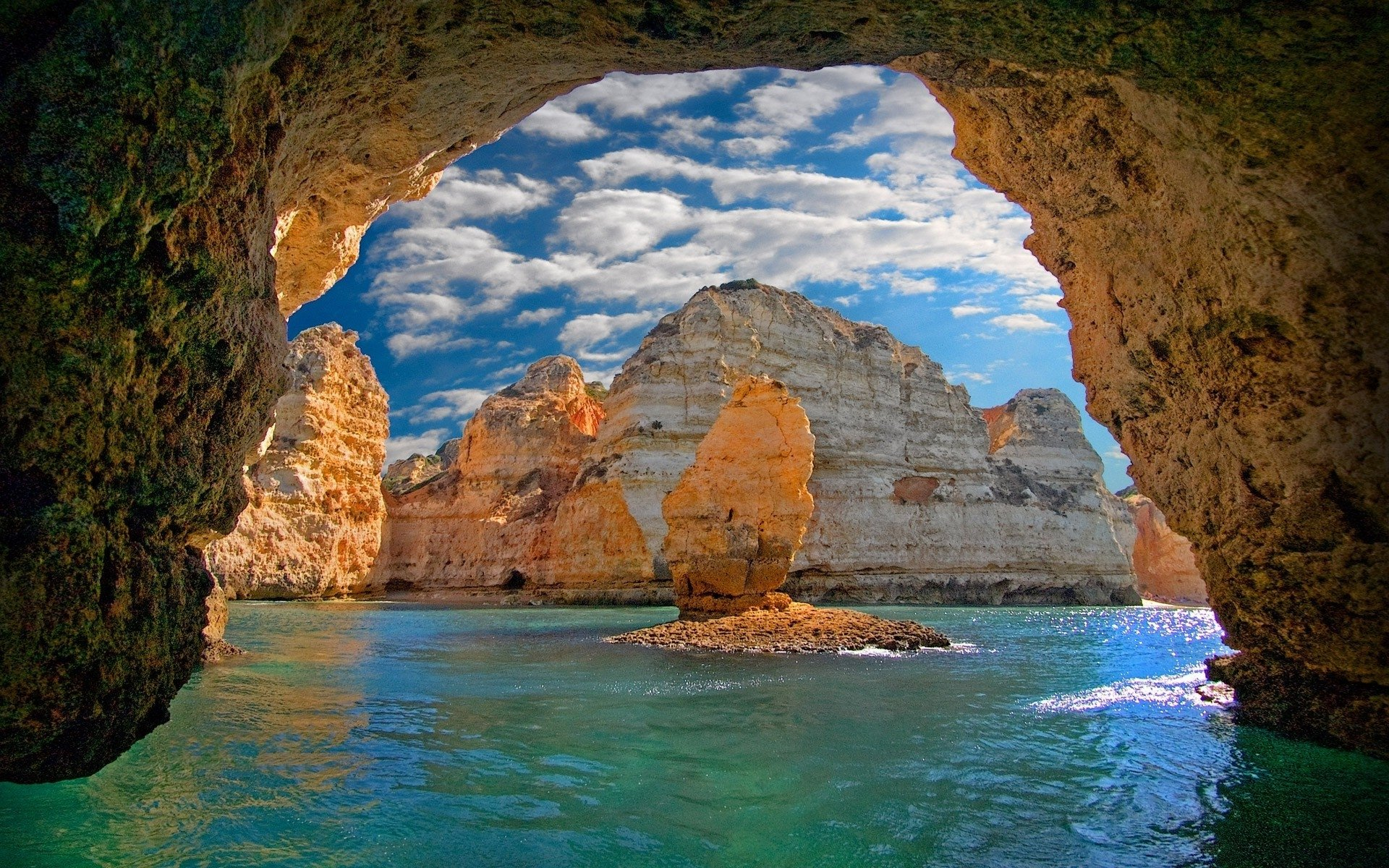 Ocean Cave In Portugal Hd Wallpaper Background Image