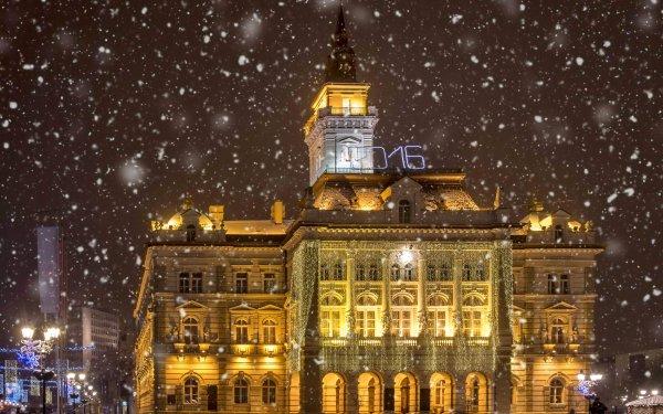 Man Made City Cities Novi Sad Serbia Cityscape Winter Snowfall HD Wallpaper | Background Image