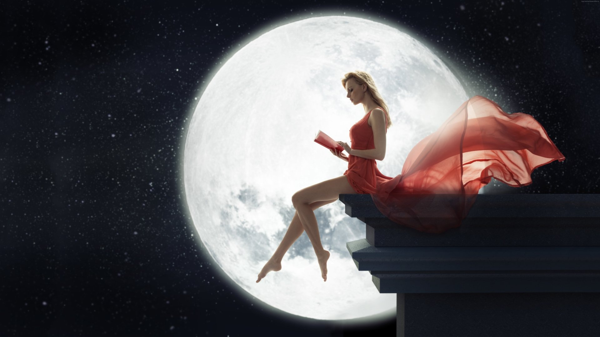 Fantasy - Women  Fantasy Woman Red Dress Moon Book Gown Wallpaper