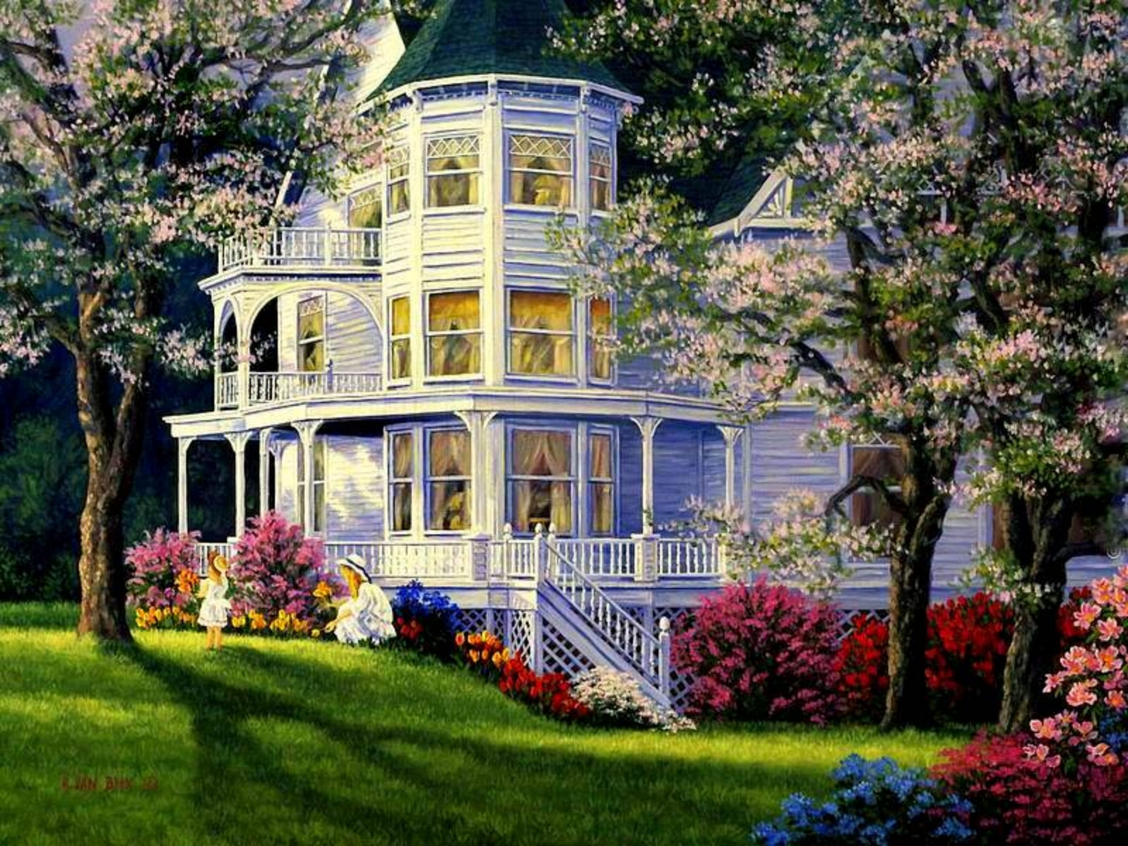 Victorian house in springtime wallpaper and background for Home wallpaper view