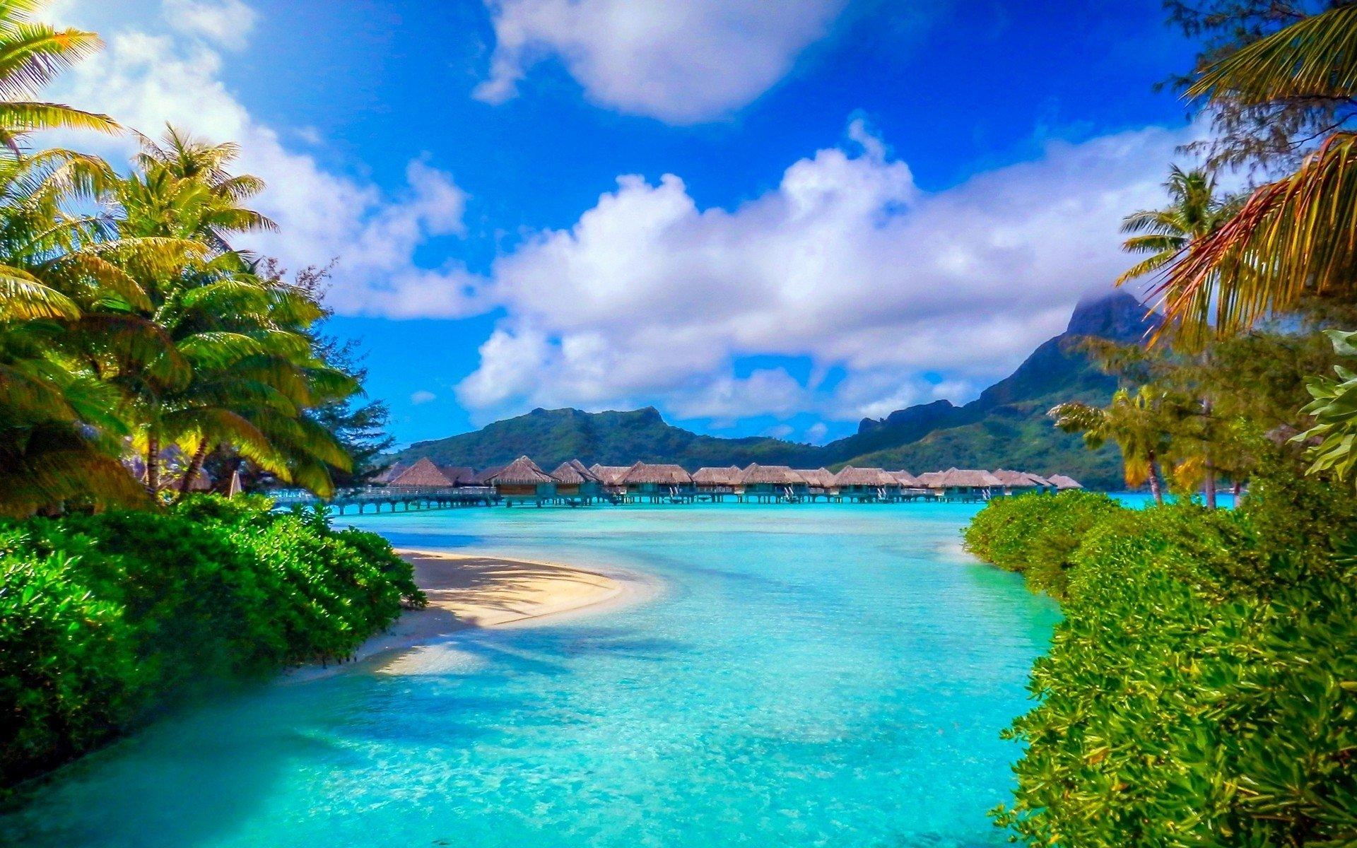 Scenic Beach Hd Photo Wallpaper: Resort In Bora Bora HD Wallpaper