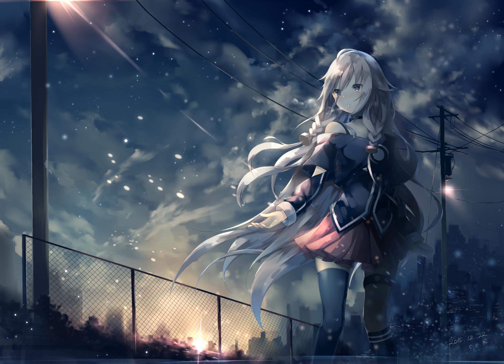 Anime - Vocaloid  IA (Vocaloid) Long Hair White Hair Braid Skirt Pantyhose Sunrise Original (Anime) Girl Light Cloud Sky Anime Wallpaper