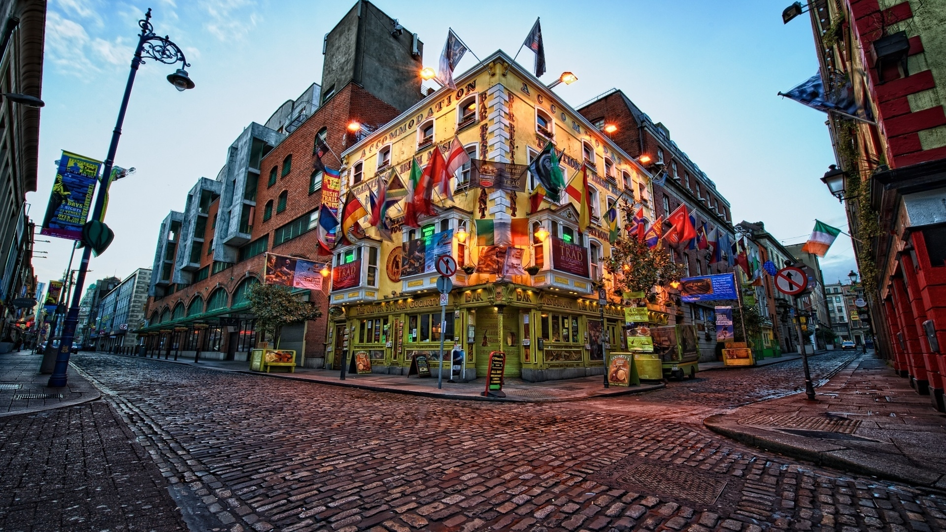 man made dublin ireland cityscape square building street flag brick city man made hdr wallpaper
