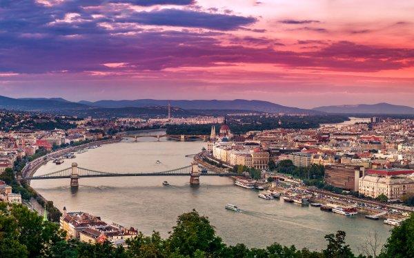 Man Made Budapest Cities Hungary City Bridge Cityscape Sky Chain Bridge HD Wallpaper | Background Image