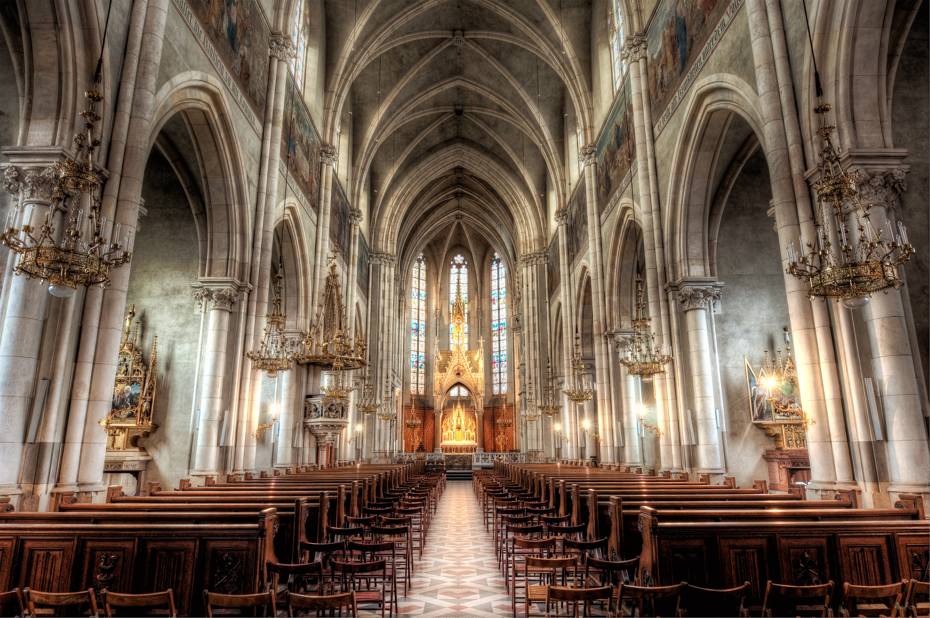 Inside A Cathedral Full Hd Wallpaper And Background Image