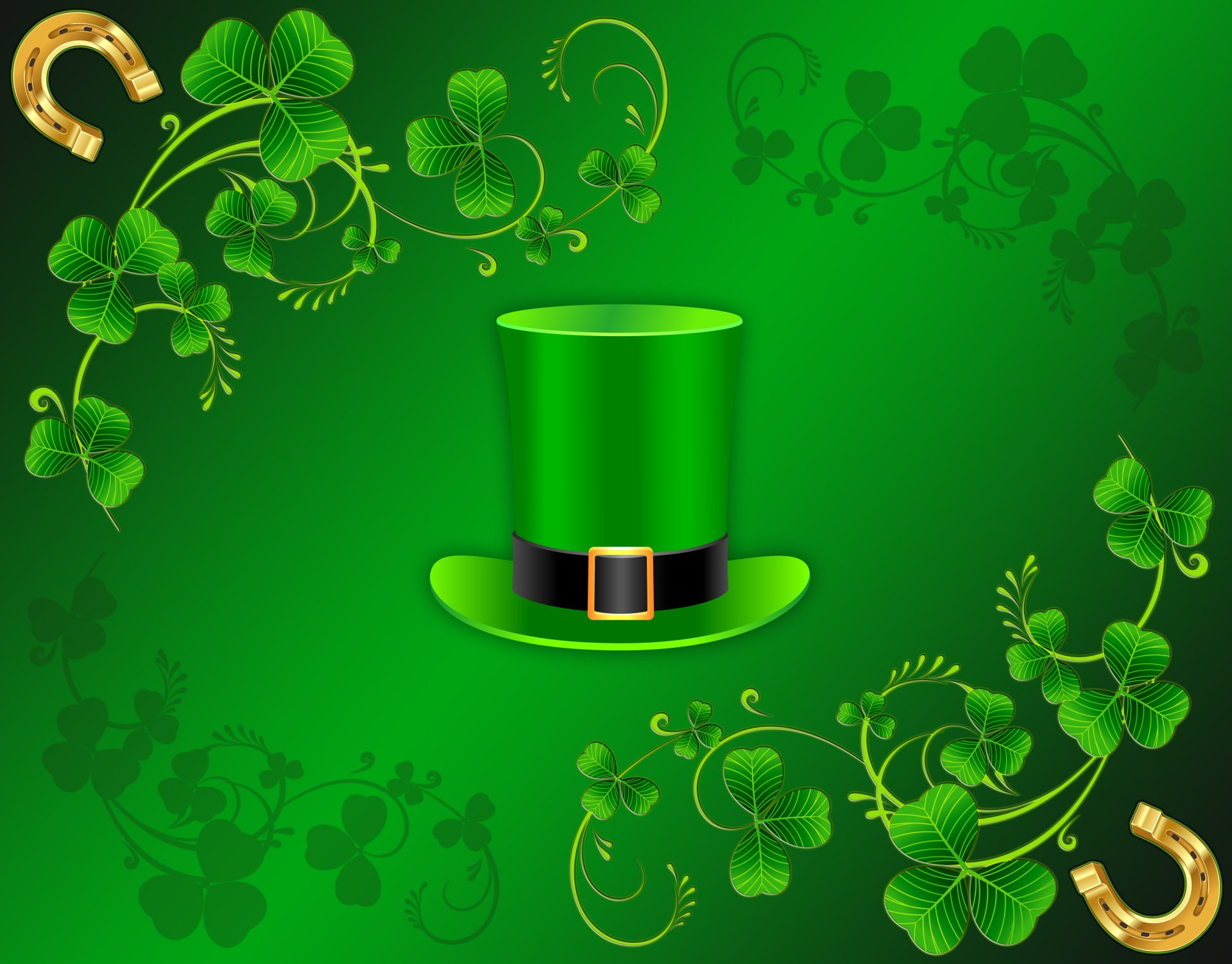 Holiday - St. Patrick's Day  Clover Hat Green Wallpaper