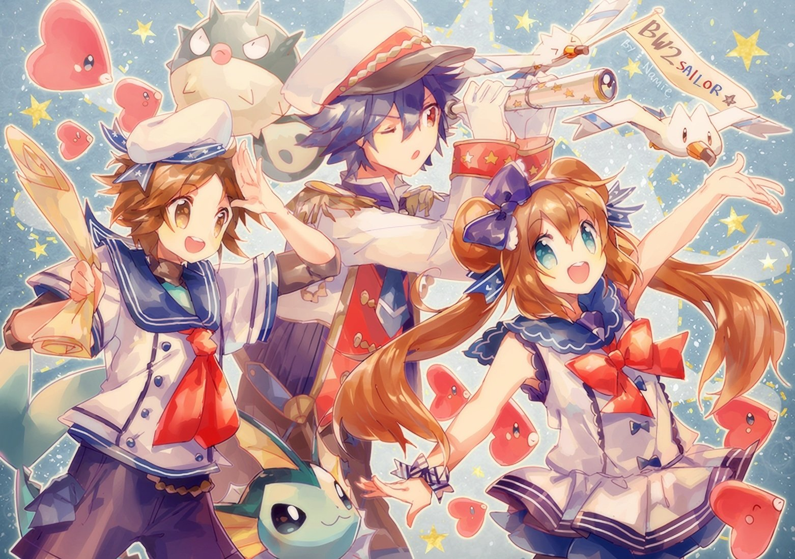 动漫 - 宠物小精灵  Long Hair Twintails Short Hair Blue Hair Brown Hair Blue Eyes Red Eyes Uniform Telescope Luvdisc (Pokémon) Wingull (Pokémon) Qwilfish (Pokémon) Vaporeon (Pokémon) 壁纸
