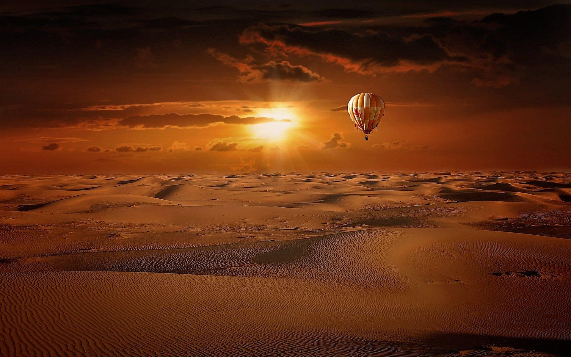 Vehicles - Hot Air Balloon  Vehicle Dune Desert Sand Brown Sunset Wallpaper